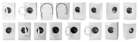 Set with modern washing machines on white background. Banner design