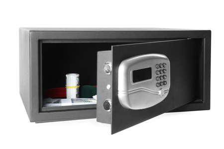 Open steel safe with money and jewelry isolated on white