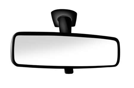 Schwarzer Rückspiegel auf weißem Hintergrund Standard-Bild