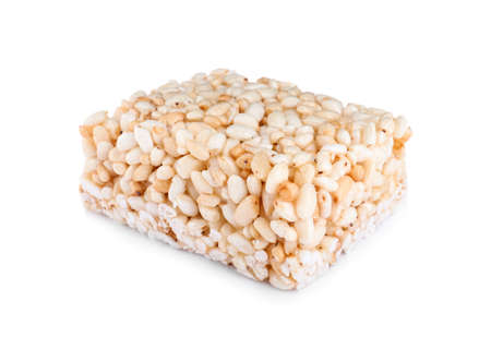 Bar of delicious rice crispy treat isolated on white