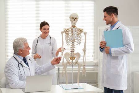 Professional orthopedist teaching medical students in clinic Stock Photo