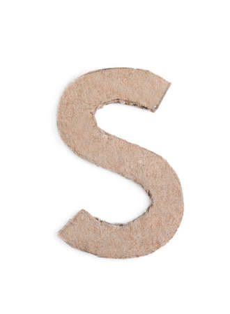 Letter S made of cardboard isolated on white Banco de Imagens