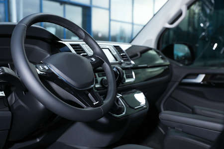 View of modern car with comfortable driver's seat inside