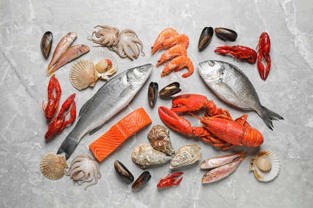 Fresh fish and seafood on marble table, flat lay 写真素材