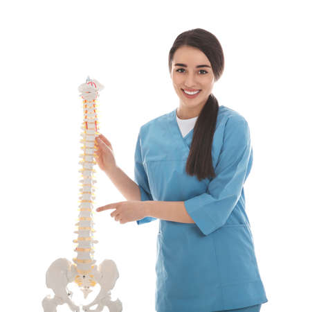 Young orthopedist with human spine model on white background