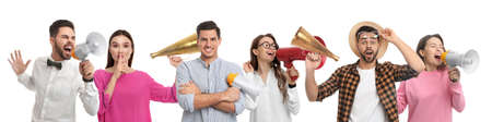 Collage of people with megaphones on white background. Banner design
