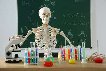 Skeleton and different chemistry glassware in classroom