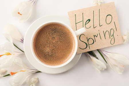Card with words HELLO SPRING, cup of coffee and fresh flowers on white background, flat lay
