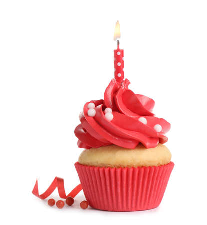Delicious birthday cupcake with candle isolated on white Stockfoto