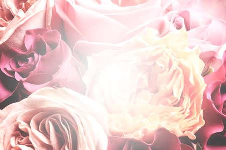 Beautiful delicate bouquet, closeup. Floral decor in vintage style