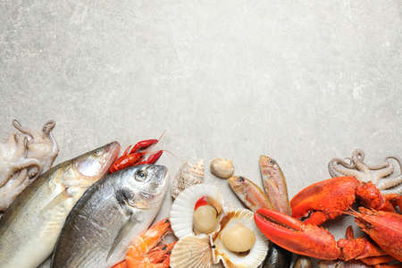 Fresh fish and different seafood on light grey table, flat lay. Space for text Banque d'images