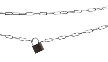 Steel padlock and chains isolated on white, top view. Safety concept
