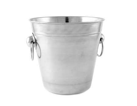 Empty metal bucket for ice isolated on white Reklamní fotografie