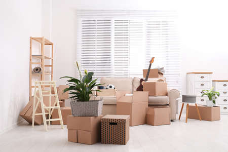 Cardboard boxes and household stuff in living room. Moving day
