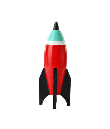 Bright modern toy rocket isolated on white