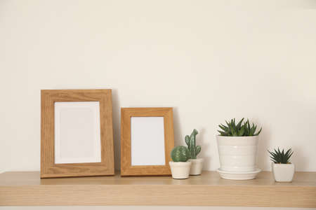 Wooden shelf with houseplants and photo frames on light wall