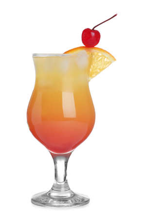 Fresh alcoholic Tequila Sunrise cocktail isolated on white