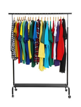 Rack with stylish t-shirts isolated on white Stock fotó