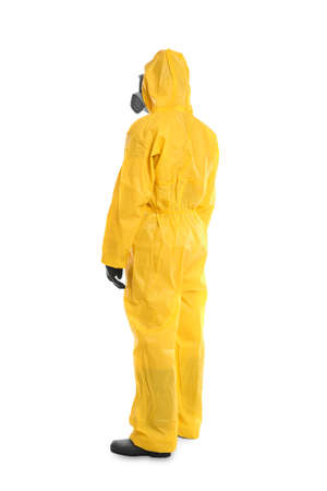 Man wearing chemical protective suit on white background. Virus research