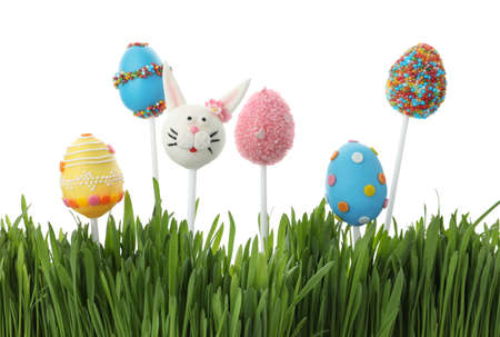 Different delicious cake pops for Easter celebration and grass on white background 写真素材