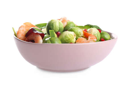 Tasty salad with Brussels sprouts in bowl isolated on white