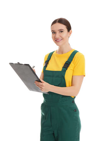 Portrait of professional auto mechanic with clipboard on white background Standard-Bild
