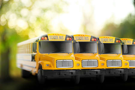 Yellow school buses outdoors. Transport for students