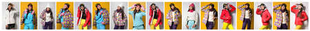 Collage of people wearing winter sports clothes on color backgrounds. Banner design