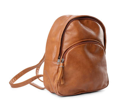 Stylish brown leather backpack isolated on white