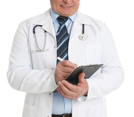 Senior doctor with clipboard on white background, closeup Imagens