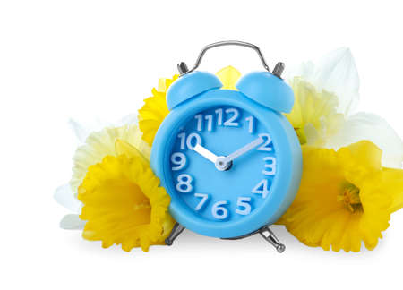 Light blue alarm clock and spring flowers on white background. Time change