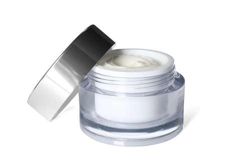 Jar of luxury face cream isolated on white Zdjęcie Seryjne