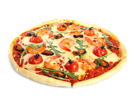 Hot delicious seafood pizza isolated on white