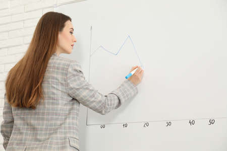 Professional business trainer near whiteboard in office