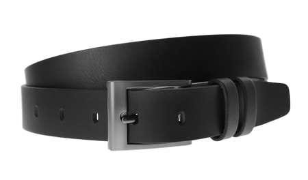 Stylish black leather belt isolated on white Stock Photo