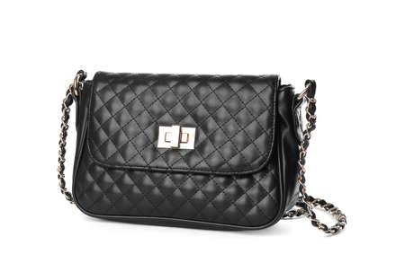 Stylish black leather bag isolated on white