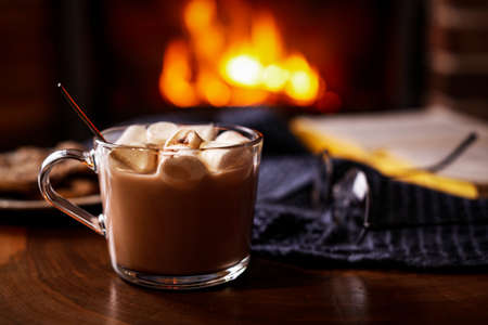 Delicious sweet cocoa with marshmallows and blurred fireplace on background