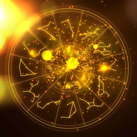 Abstract illustration of zodiac wheel in sunlight