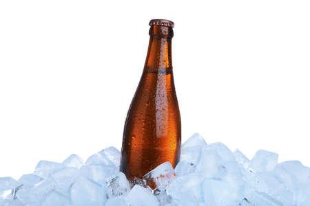 Ice cubes and bottle on white background Stockfoto
