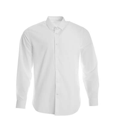 Stylish shirt on mannequin against white background. Men's clothes