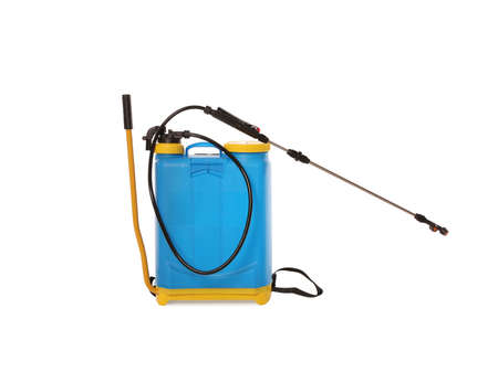 Manual insecticide sprayer isolated on white. Pest control