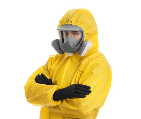 Man wearing chemical protective suit on white background. Prevention of virus spread