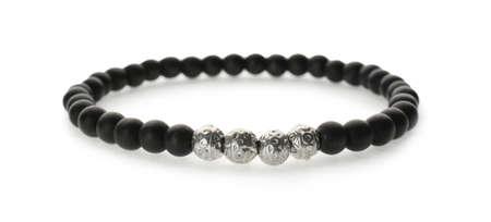 Stylish bracelet isolated on white. Fashionable accessory Foto de archivo