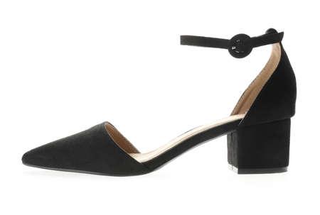 Stylish elegant black shoe isolated on white