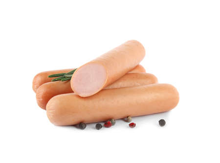 Tasty sausages on white background. Meat product
