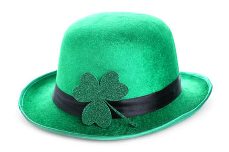 Green leprechaun hat with clover leaf isolated on white. St. Patrick's Day celebration
