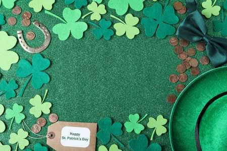 St. Patrick's Day layout on green background. Space for text