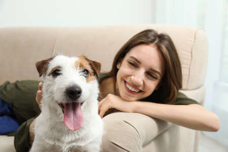 Young woman with her cute Jack Russell Terrier on sofa at home. Lovely pet