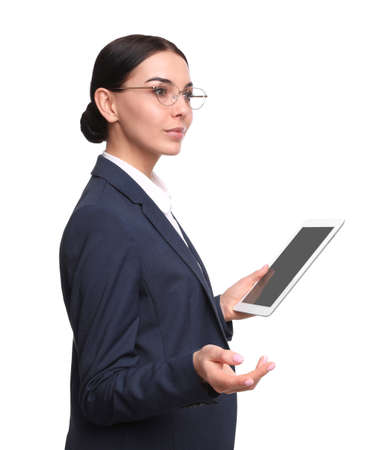 Young businesswoman with tablet on white background