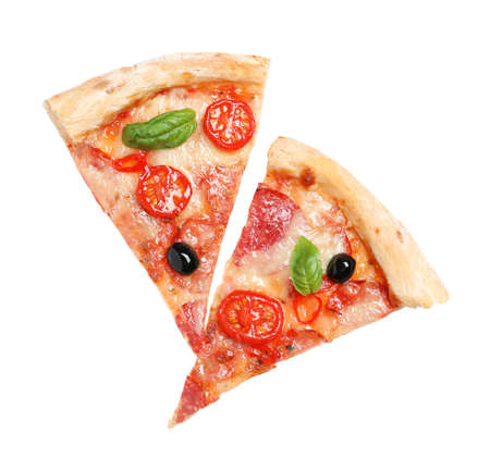 Slices of delicious pizza Diablo isolated on white, top view Banque d'images